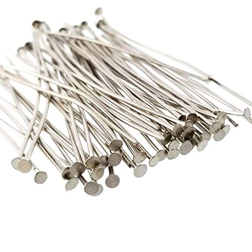 Platinum Dark Antique Silver Flat Head Pins for Jewelry Making - Non-Tarnish, Nickel Free- 21 Gauge (50mm) 2 Inch