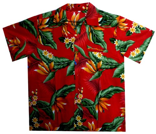 Original King Kameha | Funky Camisa Hawaiana Señores | XS-2XL |Manga Corta Bolsillo Delantero | impresión De Hawaii| Streli |diferentes colores Rojo