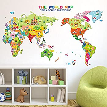 kids educational world map wall dcor sticker wall decal colorful nursery art classroom learning