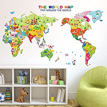 Kids Educational World Map Wall Décor Sticker Wall Decal Colorful Nursery Art Classroom Learning  sc 1 st  Amazon.com : world map wall art for kids - www.pureclipart.com