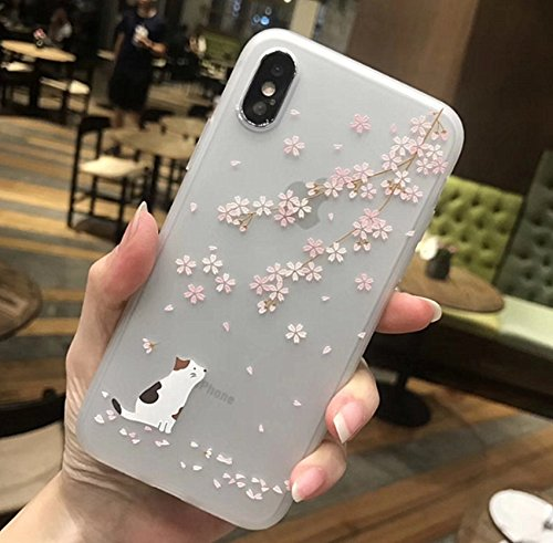 iPhone X Soft Case,LuoMing 3D Emboss Beautiful Flower Pattern Slim fit Shock-Absorbing Soft Rubber Clear TPU Skin Cover Case for iPhone X 5.8inch(2017) (Cat and (Tpu Skin)