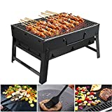 Barbecue Grill GolWof Portable Barbecue Grill Stainless Steel BBQ Grill Foldable Charcoal Grill Outdoor with BBQ Mat, BBQ Clip and Oil Brush for Picnic Camping Garden Party Festival 44*29*23cm