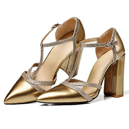 Heels 7 Zanpa Chunky Sandals Fashion Gold Colors Women tFXxqHR