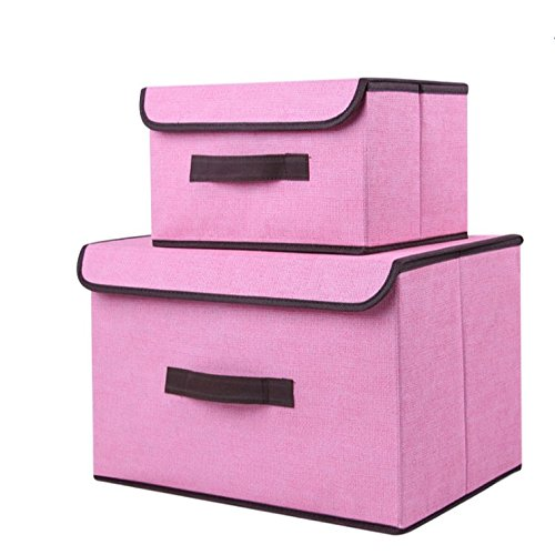 M&S Storage Bin with Lid Storage Bins with Lids Fabric Storage Boxes with Lids (2 pack) Set of Two Foldable Storage Bns Collapsible Storage Cubes Baskets Bedroom Toys Clothes Office Kid Room woven by M&S