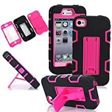 iPhone 4S Case, iPhone 4 Case,LUOLNH Robot Series Hybrid Armored Case with Kickstand for Apple iPhone 4/4S - 1 Pack - Retail Packaging (Black+Rose)
