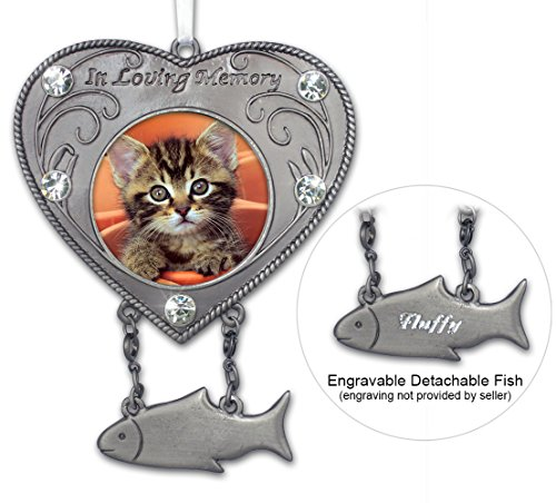 BANBERRY DESIGNS Cat Photo Memorial Ornament - Heart Shaped Photo Ornament with Hanging Fish Charm - Pet Sympathy Gift - In Memory of Cat - Pet Memorial Gift