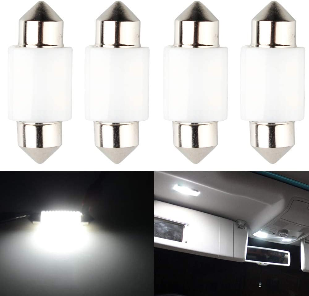 """JAVR Xenon 31MM 1.22/""""White Extremely Bright 400Lums Non-Polarity Canbus Error Free 3014 21SMD LED Festoon Bulbs for DE3175 DE3021 DE3022 3175 6428 Interior Dome Map Lights Pack of 8"""
