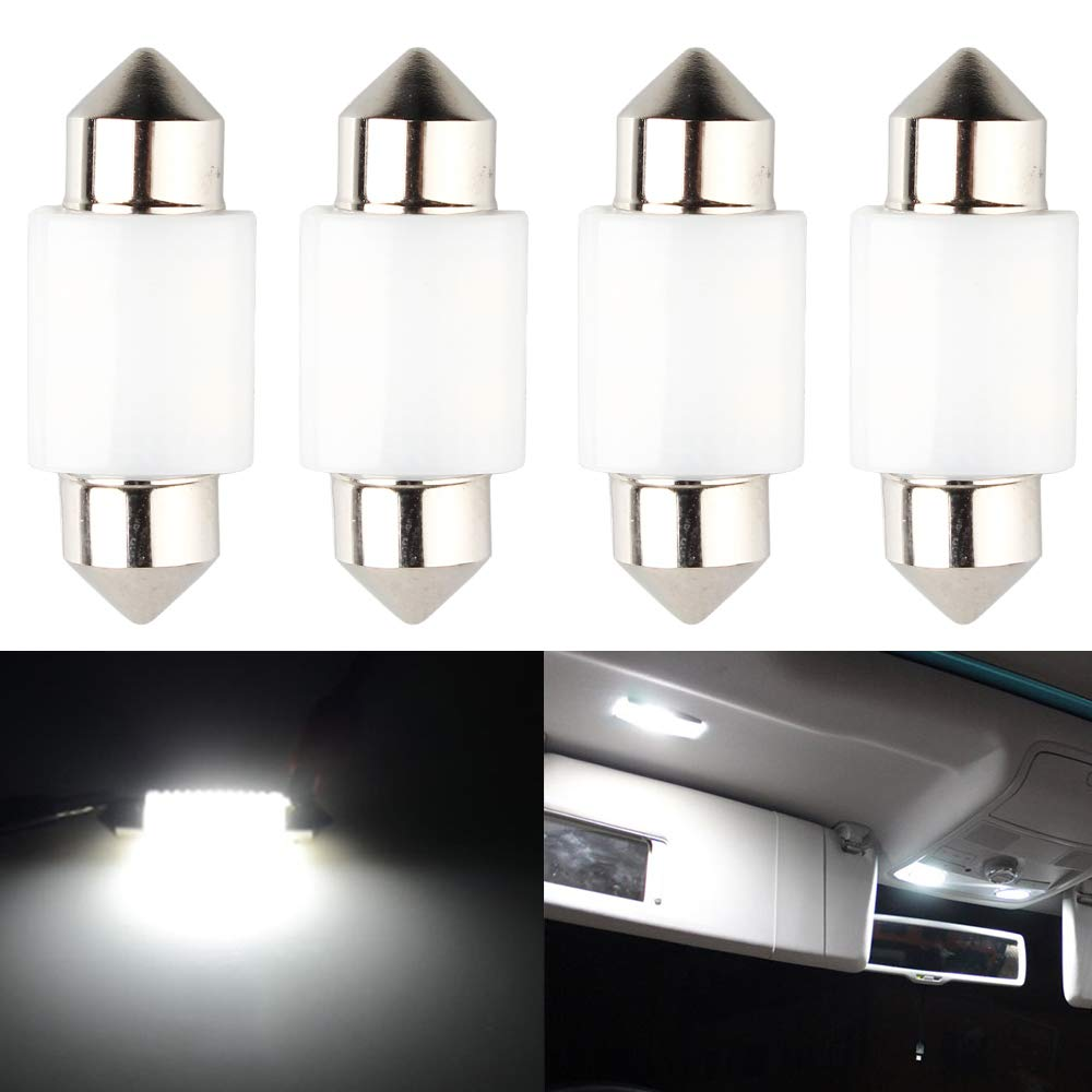 4-Pack 36MM 1.5 White 9V-18V Constant Current Non-Polarity CAN-Bus Error Free 6418 6411 6461 DE3425 C5W LED Bulbs Festoon 3030 6-SMD for Car Interior Dome Map Door Courtesy License Plate Light