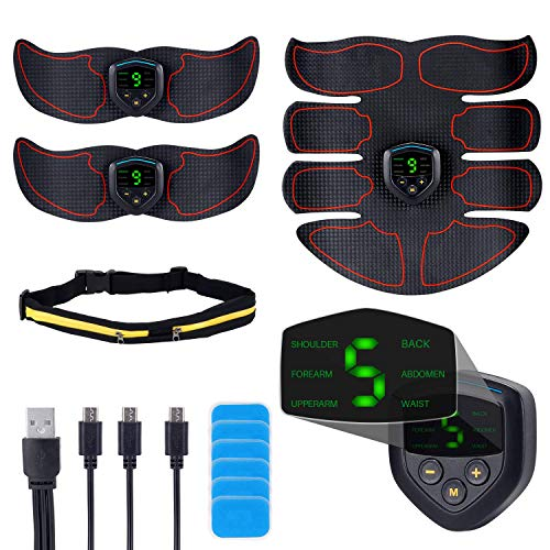 QUNSE ABS Stimulator EMS Muscle Trainer – USB Rechargeable, LCD Display, 6 Modes, 9 intensities Abdominal Toner Belts, with 12p Replacement Gel Pads and Waist Bag-Workout Home Gyms
