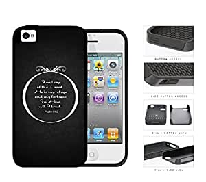 Psalm 91:2 Bible Verse On Black Background iPhone 4 4s (2-piece) Dual Layer High Impact Cell Phone Case