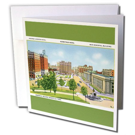 Memorial Square Nashville Tennessee Scene, Vintage Cars - Greeting Cards, 6 x 6 inches, set of 6 (gc_170625_1)