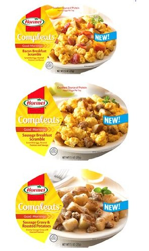 Hormel Compleats Good Mornings Breakfast Variety Pack  2 Bowls Of Sausage Breakfast Scramble  2 Bowls Of Bacon Breakfast Scramble And 2 Bowls Of Sausage Gravy   Roasted Potatoes  Pack Of 6