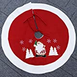 "Christmas Tree Skirt 36"" Decoration White Fur & Red Santa Claus for Home, Outdoor"