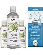 NOW Solutions 100% Pure Organic Multi-Purpose Vegetable Glycerine Bundle of 4 fl. oz. (118mL) (2 bottles) and 16 fl. oz. (473 mL) (1 bottle)