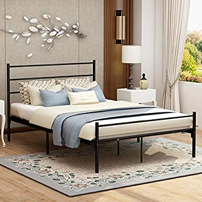 Modern Style Platform Metal Bed Frame Foundation Headboard Footboard Heavy Duty Steel Slabs Queen Full Twin Black Finish… -  - bedroom-furniture, bedroom, bed-frames - 51p6TUFhLcL. SS400  -