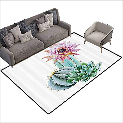 Floor Mats Modern Kitchen Rug Cactus Decor,Cactus Spikes Flower in Hot Mexican Desert Sand Botanic Natural Image,Pink Green and Blue 48