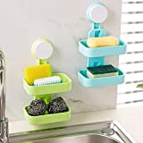 PRAMUKH STORE Plastic Double Layer Soap Suction Cup Hanging Holder/Rack for Bathroom (Standard, Colour May Vary)