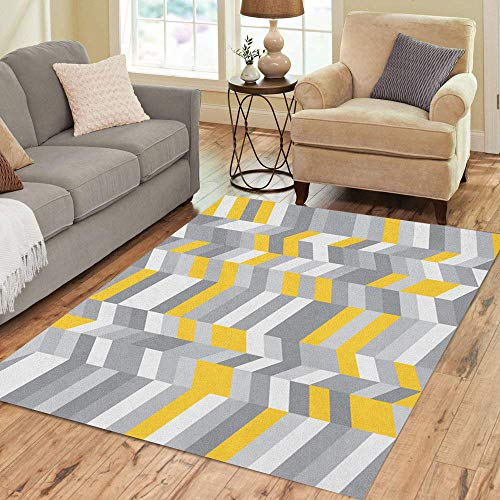 Semtomn Area Rug 2' X 3' Gray White Herringbone Pattern Cool Pastel Color Palette Yellow Home Decor Collection Floor Rugs Carpet for Living Room Bedroom Dining Room