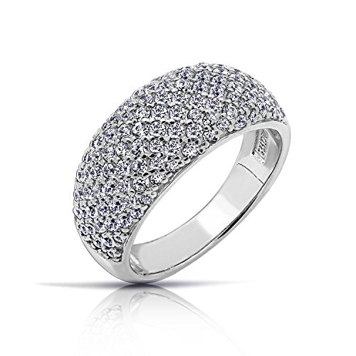 Diamonbliss Sterling Silver or 14K Yellow Gold Clad Pave Dome Ring - Sterling Silver, Size 5