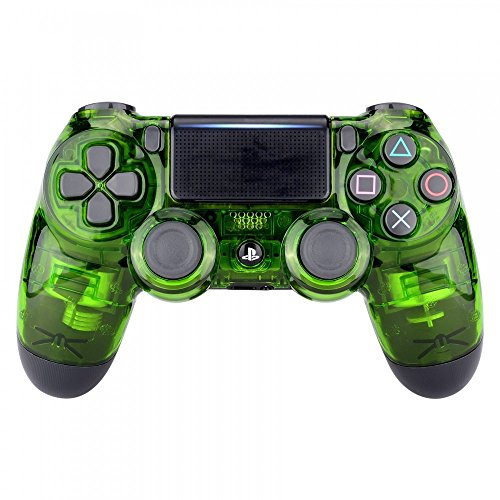 eXtremeRate Transparent Crystal Clear Green Front Housing Shell Faceplate Cover for Playstation 4 PS4 Slim PS4 Pro Controller (CUH-ZCT2 JDM-040 JDM-050 JDM-055)