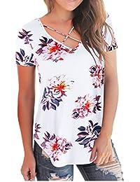 Women T Shirts Short Sleeve Floral Tees V Neck Criss Cross Summer Tops