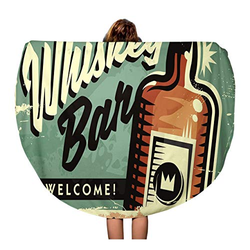 - Pinbeam Beach Towel Welcome to The Whiskey Bar Promotional Retro Sign Travel 60 inches Round Tapestry Beach Blanket