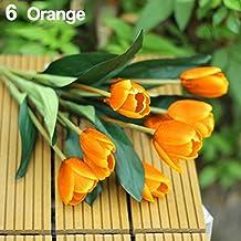 1 Bouquet 9 Heads Fake Tulip Artificial Silk Flower Home Office Wedding Decor - Orange Amesii