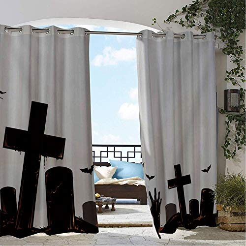 Linhomedecor Patio Waterproof Curtain White Halloween Cemetery pergola Grommets Parties Curtains 84 by 72 inch