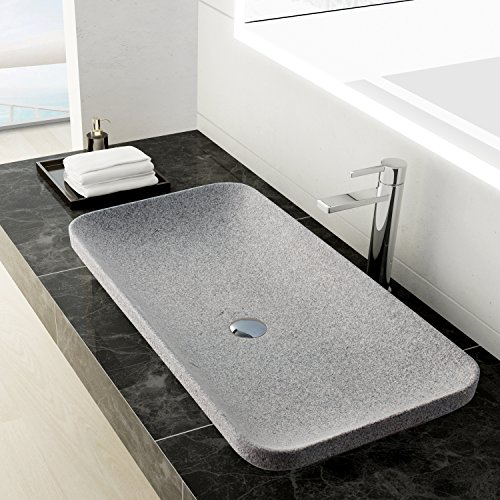 maykke ivins 32 inch rectangular bathroom stone sink gray natural rh tamukitani com Rustic Bathroom Vanities and Sinks Single Vanity Bathroom Sink