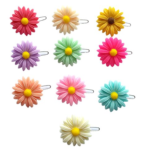 PET SHOW Mum Small Dogs Hair Bows Clips Pet Grooming Hair Accessories Resin Flower Hair Bows with Frog Clips for Puppy Cats Assorted Colors Pack of 10 Pairs