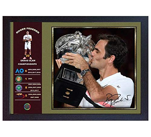 S&E DESING Roger Federer Signed Photo Print Picture 20 Grand SLAM Championships Framed #008
