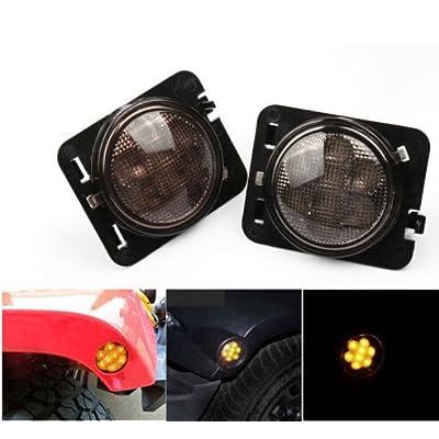 LED Side Maker Lights for Jeep Wrangler JK Amber Front Fender Flares Parking Turn Lamp Bulb Indicator Lens: Automotive