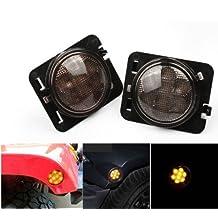 LED Side Maker Lights for Jeep Wrangler Amber Front Fender Flares Parking Turn Lamp Bulb Indicator Lens