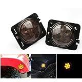 LED Side Maker Lights for Jeep Wrangler JK Amber Front Fender Flares Parking Turn Lamp Bulb Indicator Lens