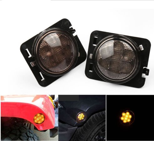 LED Side Maker Lights for Jeep Wrangler Amber Front Fender Flares Parking Turn Lamp Bulb Indicator Lens