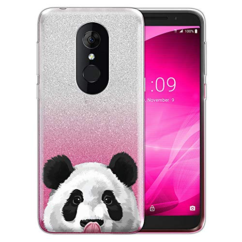 FINCIBO Case Compatible with Alcatel 3 5052 Onyx/T-Mobile Revvl 2 5.5 inch, Shiny Sparkling Silver Pink Gradient 2 Tone Glitter TPU Protector Cover Case for Alcatel 3 5052 - Baby Panda Bear