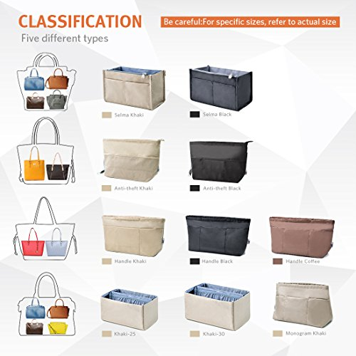 13 Pockets Purse Organizer Tote Insert Liner Bag Anti-Theft Keychain(M,Black) by BES CHAN (Image #7)