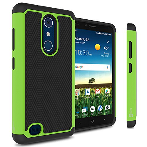 ZTE Blade X Max Case, CoverON [HexaGuard Series] Slim Hybrid Hard Phone Cover Case for ZTE Blade X Max - Green / Black