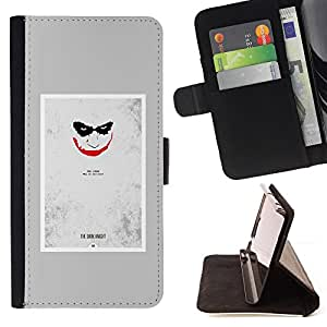 Ihec-Tech / Negro Flip PU Cuero Cover Case para LG OPTIMUS L90 - Scary Face Sonrisa espeluznante del cartel