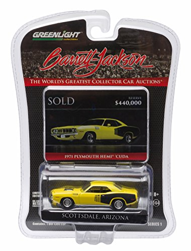 GL Muscle 1971 Plymouth HEMI 'Cuda (Curious Yellow) - Scottsdale Edition - Barrett-Jackson Series 1 Greenlight Collectibles 2016 Limited Edition 1:64 Scale Die-Cast Vehicle