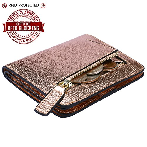 Itslife Women's Rfid Blocking Small Compact Bifold Leather Pocket Wallet Ladies Mini Purse with id Window (Lichee Champagne Gold)