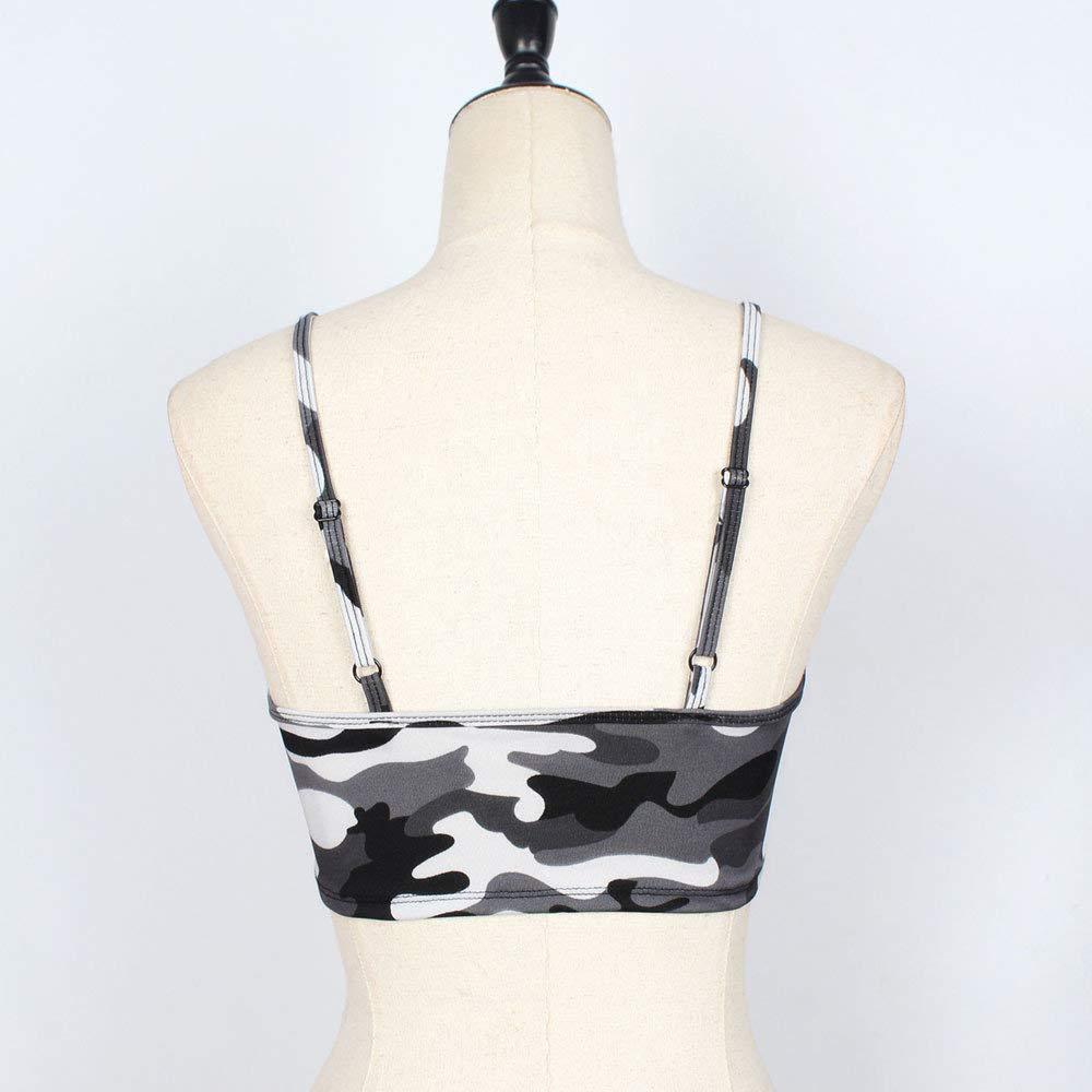 Fannyfuny Damen Elegant Camisole Sweatshirt Frauen Camouflage /Ärmelloses Tr/ägershirt Bustier BH Weste Crop Top Bluse T-Shirt