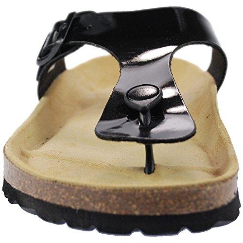 Sanosan Geneve Ladies Toe Post Sandals Lacque Black Patent WsJridTD2