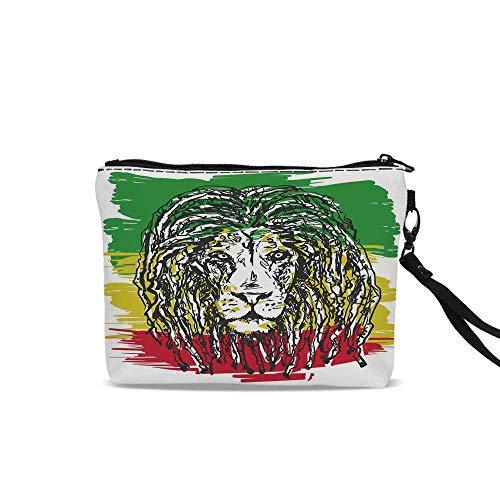 Rasta Portable Art Storage Bag with Cosmetics,Ethiopian African Culture Hair Style Lion Head Portrait Grunge Backdrop Decorative For Women Girl,9