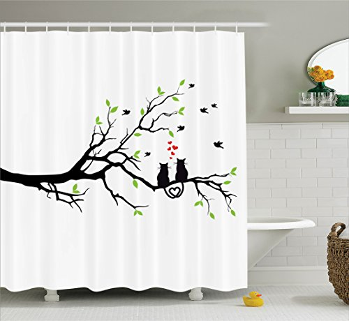 Ambesonne Cat Lover Decor Collection, Cats in Love on Tree Branch with Flying Birds Nature Romance Illustration, Polyester Fabric Bathroom Shower Curtain, 75 Inches Long, Green Black (Love Bird Collection)