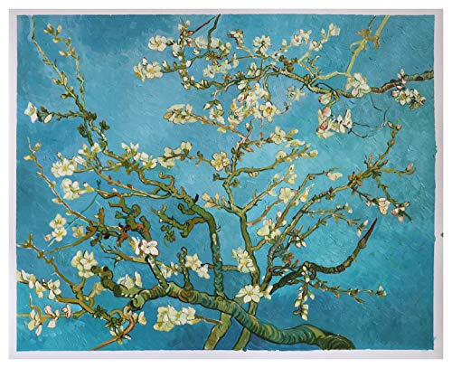 Branches with Almond Blossom - Vincent van Gogh high quality hand-painted oil painting reproduction,white flowers bloom landscape,living room large decor