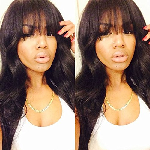Glueless #1b Hair Color Brazilian Hair Natural Wave Lace Front Human Hair Wig with Bangs for Black Women