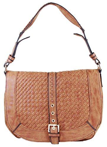 Basketweave Celebrity Fashion Designer Hobo Handbag Shoulder Bag Purse - Camel