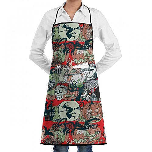 Yohafke Wicked Witch Skull Chef Kitchen Cooking Aprons BBQ Bib Apron with Pockets for Women Men ()