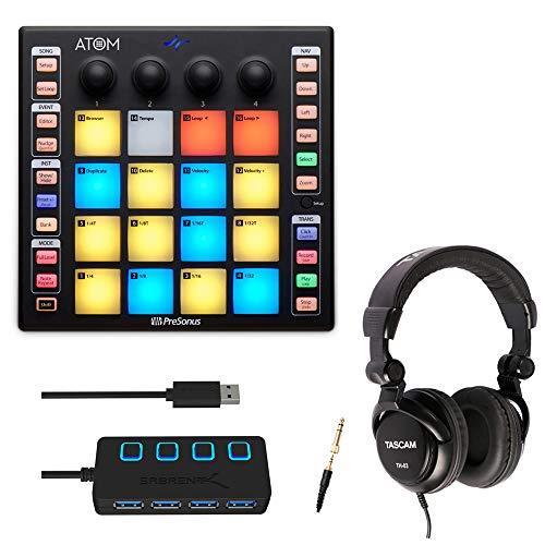 PreSonus PREATOM USB 16-pad MIDI Controller with Headphones and 4-Port USB 3.0 HUB